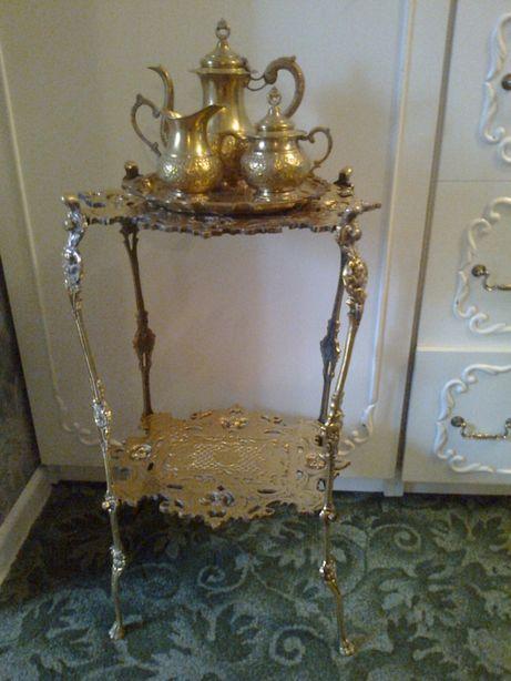 Stary mosiężny stolik,kwietnik,stojak mosiądz,z mosiądzu,wysoki