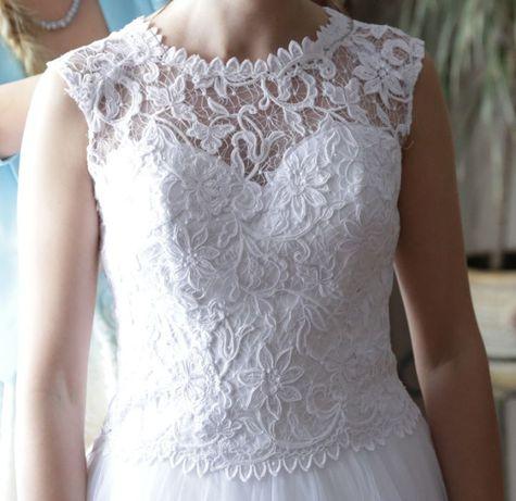 Suknia ślubna biała koronka/gipiura, tiulowa 36