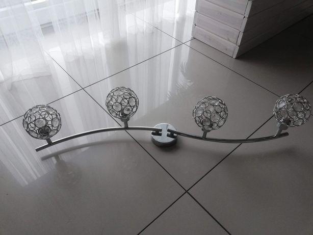 Srebrna   lampa  sufitowa kule z kryształkami