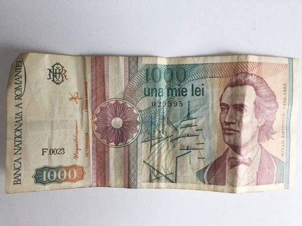 Румынские леи 1000 банкнота 1991 г., бумажные деньги.