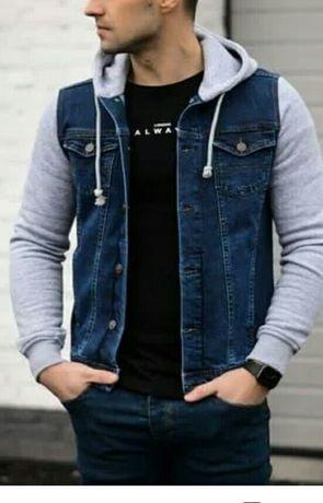 Джинсовая куртка пиджак джинсовка трикотажные рукава с капюшоном