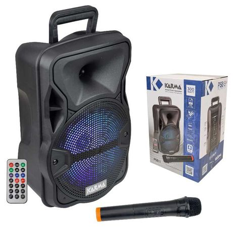 Coluna Portátil 8″ 300W – USB / SD / BT / BAT /TWS/ MIC VHF – KARMA