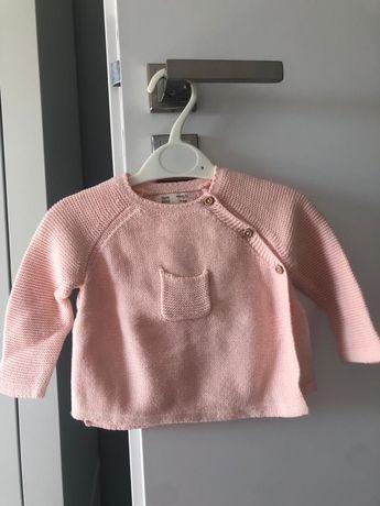Dzianinowy sweter dziewczęcy firmy ZARA, rozmiar 68