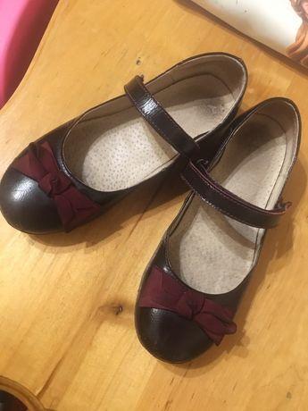 Туфли бордовые кожаные