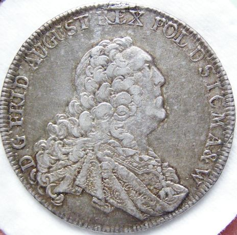 Moneta srebrna talar Fryderyk-August 1763 r.rzadki super stan