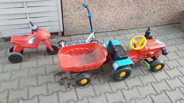 Traktor z przyczepka + hulajnoga + jeździk