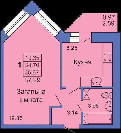 Найкраща ціна! Центр! Новобудова! 1-кімнатна квартира!