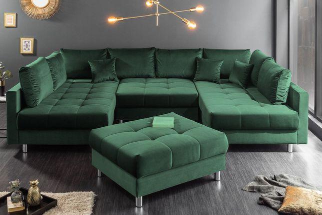 Piękna kanapa narożnik PRINCE z funkcją spania i pufą, sprężyny STYLUX