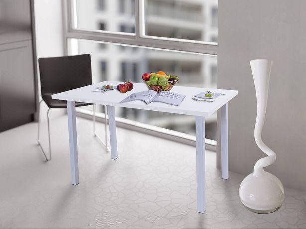Stół kuchenny 100x60x38 Biały Mat, noga Kwadrat
