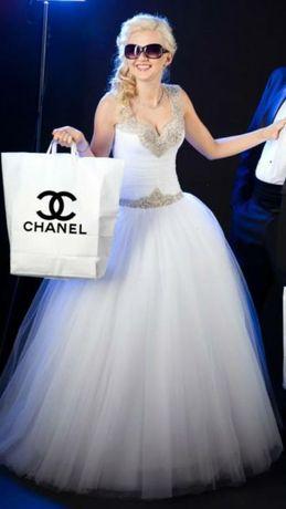 Sukienka ślubna księżniczka kryształy