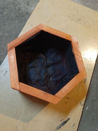 Doniczka donica drewniana ogrodowa sześciokątna 38x38cm