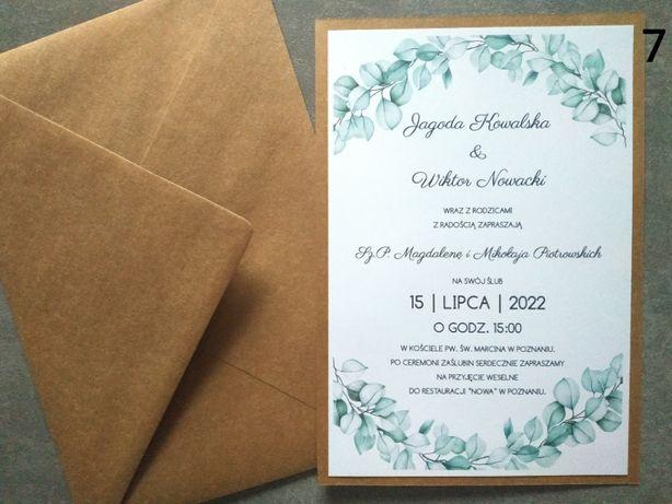 Zaproszenia ślubne eukaliptus karta A5 eko zielone liście