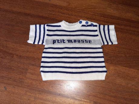 Niebiesko-biała bluzeczka dla niemowlaka z krótkim rękawem vintage