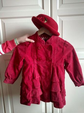 Płaszczyk dla dziecka/dziewczynki Usa czerwień/bordo 2-3lata kapelusz
