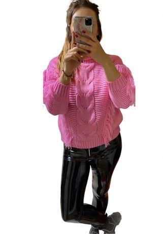 Golf. Sewter, sweterek z frędzlami / róż XS S M L