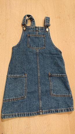 Nowa sukienka jeansowa jeans ogrodniczka, r. 146 / 152