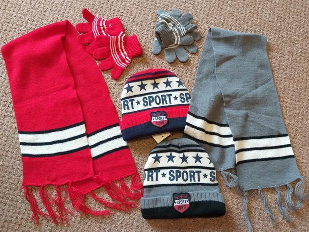 Шапка,шарф,перчатки-набор для двойни 1-2 года