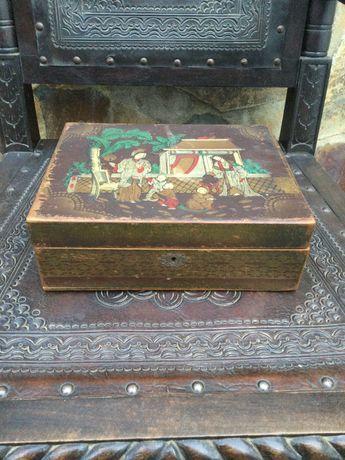 Caixa Madeira chinesa pintada á mão Antiga 26 cm