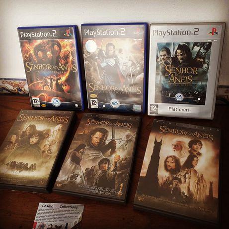O senhor dos anéis DVDs duplos e jogos PS2