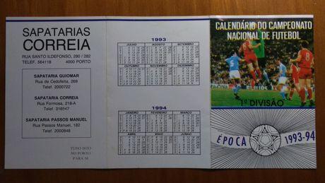 Calendário do campeonato nacional