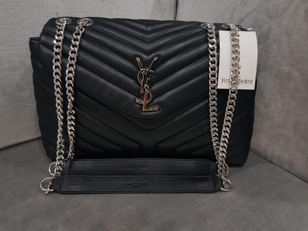 Piękna torebka pikowana duża YSL Saint Laurent srebrne logo jakość