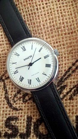 Duża biała Rakieta rzymianka męski mechaniczny zegarek