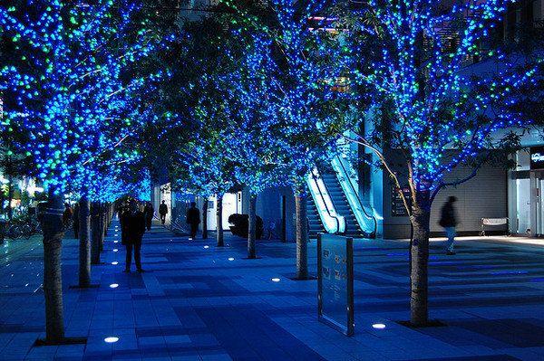Уличная LED гирлянда Нить String 20метров Синий, 200Ламп черный провод