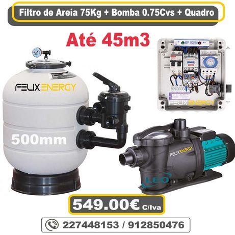 Bomba de Piscina 0.75cvs + Filtro 75Kg de Areia + Quadro de Controlo