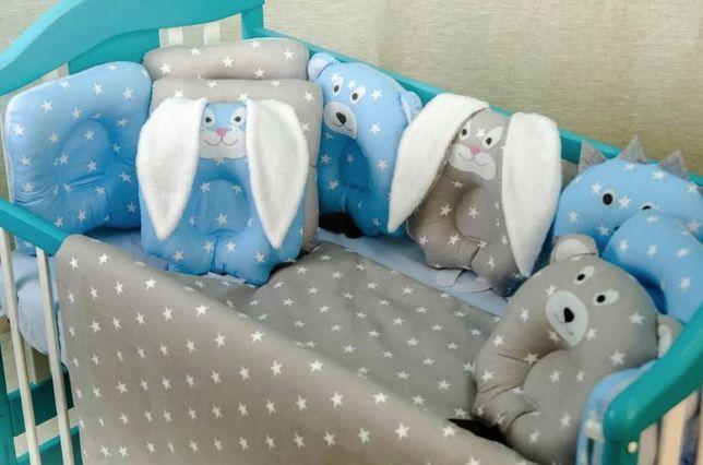 Детская постель Лесные звери комплект в кроватку + подушка игрушка