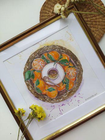 Картина акварелью, Мандарины, подарок Новый год