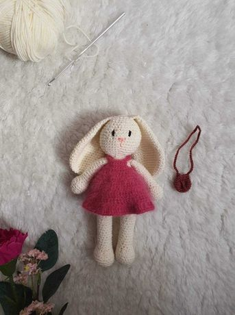Szydełkowy królik Crochet Handmade miś zabawka dla dzieci pluszak