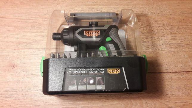 Wkrętak akumulatorowy z bitami i latarką Niteo Tools