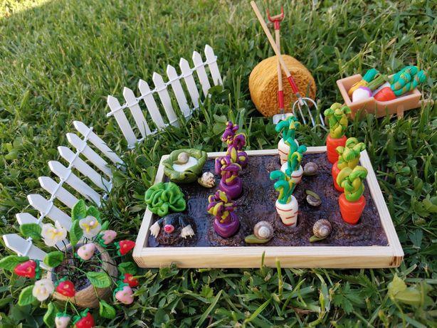 Miniatury, ogród, warzywa, owoce, dollhouse, domek, jedzenie, Barbie,