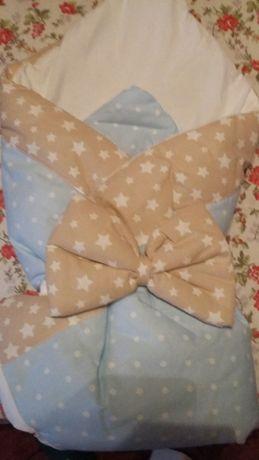 Новое красивое одеяло-конверт на выписку