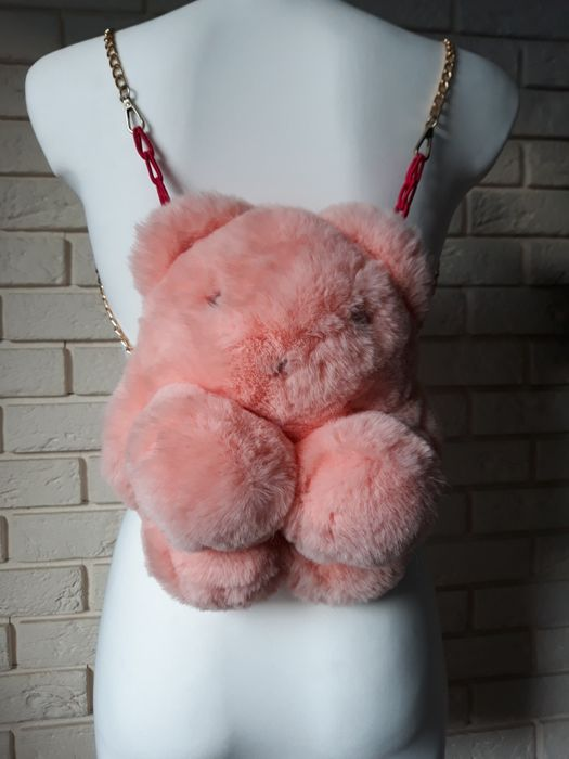 Plecak dla dziewczynki futerko, złoty łańcuszek, różowy miś. Szamotuły - image 1