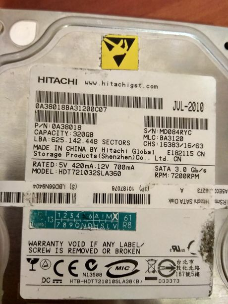 Винчестер (жёсткий диск) HITACHI на 320Gb SATA 3.0 G/s