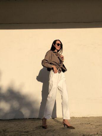 Белые винтажные джинсы
