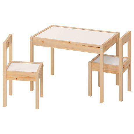 Набір дитячий стіл і 2 стільчика IKEA LATT сосна, компактний і зручний