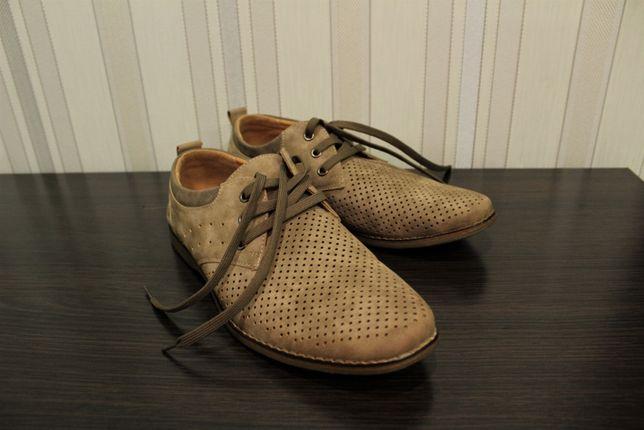 Туфлі чоловічі коричневі, замшеві, нубук