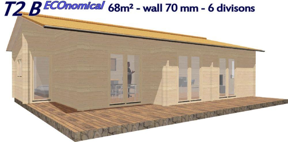 NOVO T2 BIG eco 68 mm - 68 m² - 6 Divisões - Terraço - Pre-fabricada