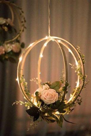 Małe kule drewniane ze światełkami, wesele, ślub, dekoracje