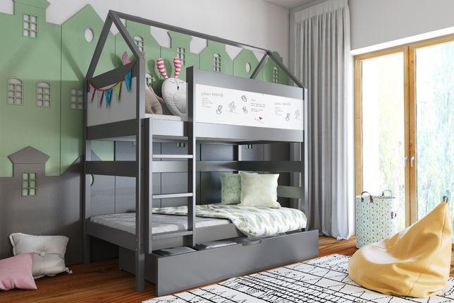 Drewniane łóżko dla dzieci Domek Bis 2 osobowe materace gratis !