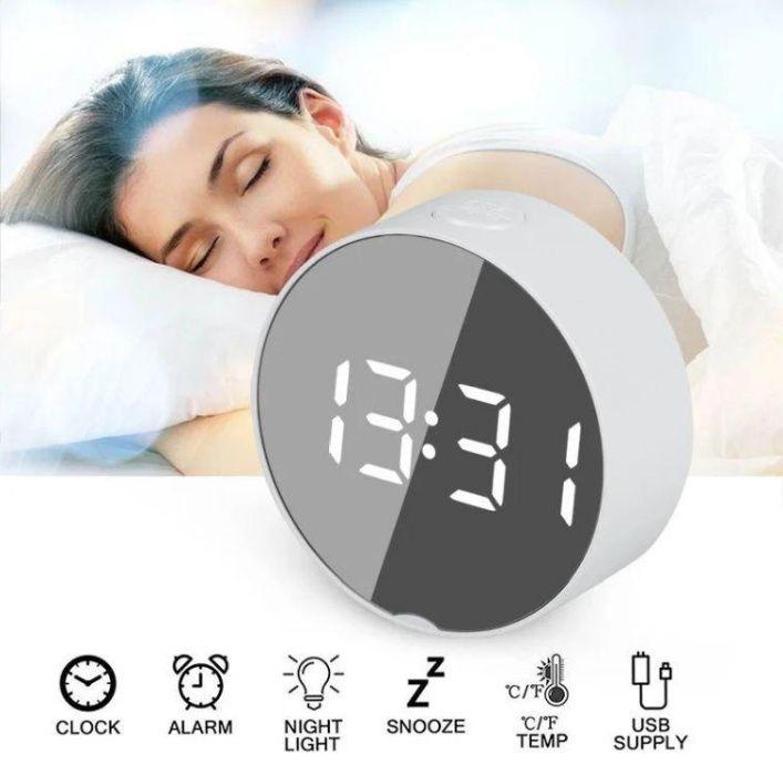 Зеркальные Led часы Dt-6505 white с будильником и термометром Одесса - изображение 1