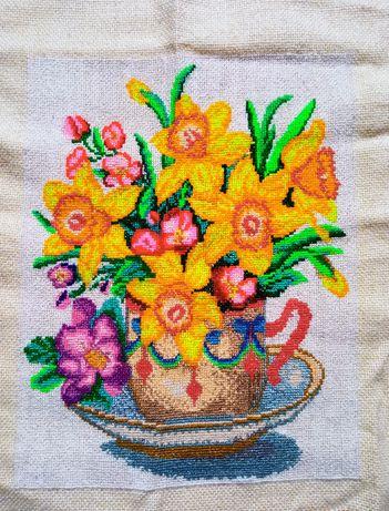 """вышитая картина """"цветы"""", ручная вышивка"""