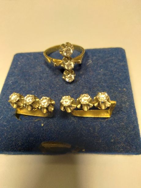 Серьги кольцо с бриллиантами золотой гарнитур советского периода