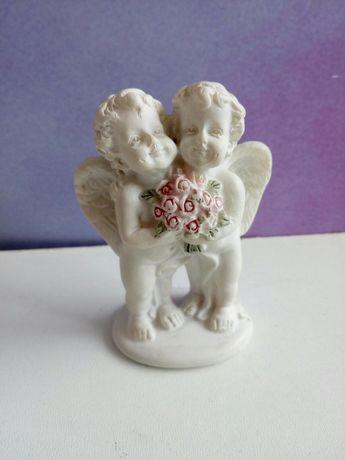 Фигурка статуетка Ангелы пара букет мраморная крошка Лефард.