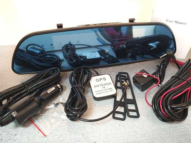Регистратор d35 / 2е камеры, Gps / WiFi видеорегистратор, зеркало /