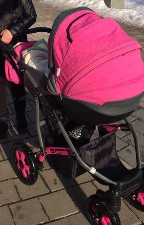Коляска для дівчинки 2в1.Люлька+прогулочна коляска