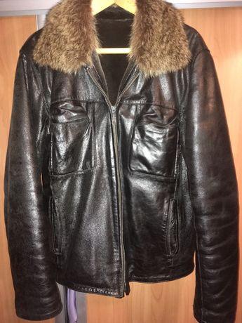 Зимняя мужская кожанная курточка