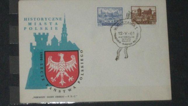 znaczki pocztowe koperta miasta polskie z1961